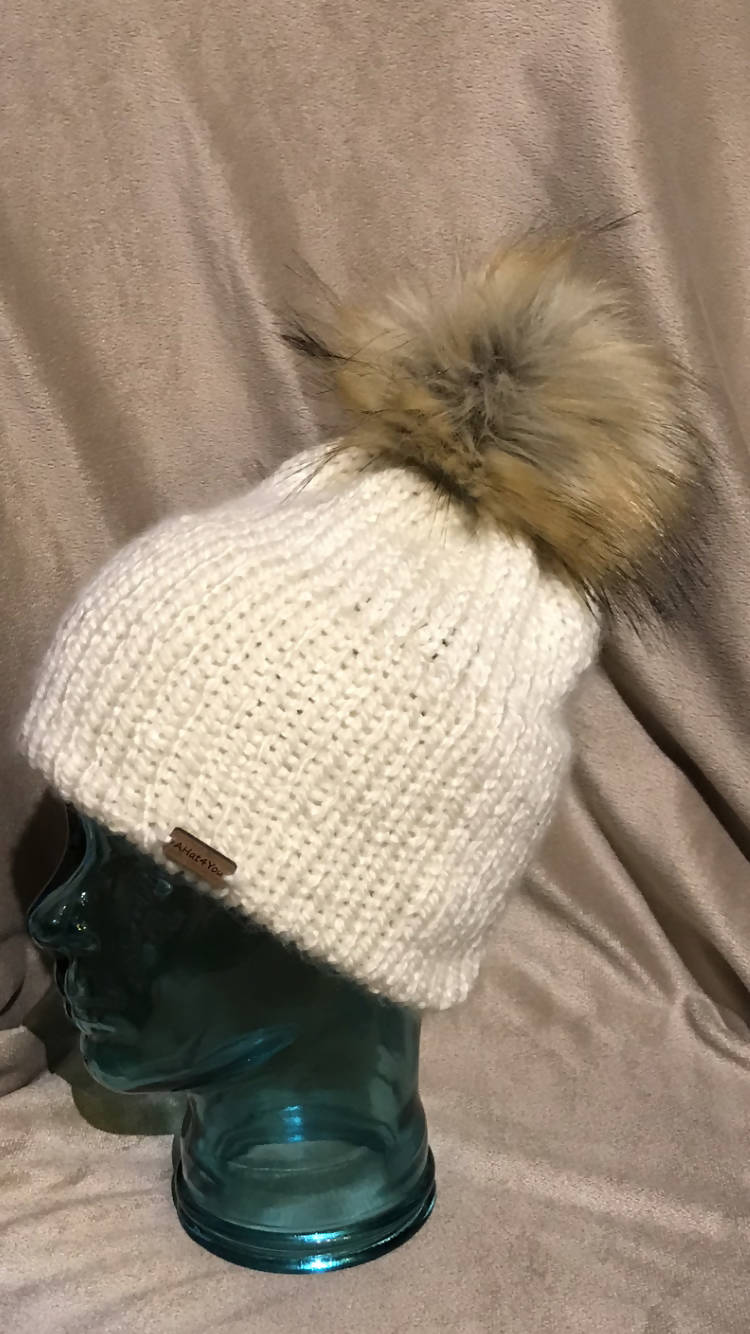 Knit Double Brimmed Hat with Faux Fur Pompom.