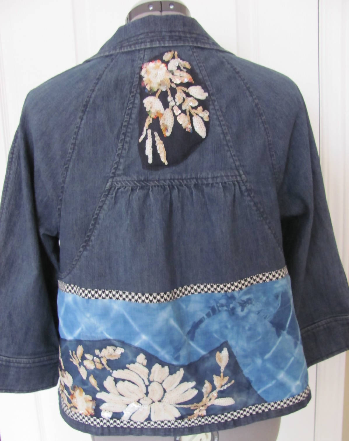 """Art-to-wear denim jacket with sequins & shibori indigo applique"""