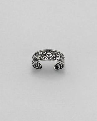 925 Sterling Silver Star and Sun Toe Ring