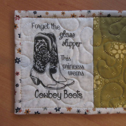 FORGET THE GLASS SLIPPER HANDMADE QUILTED MUG RUG