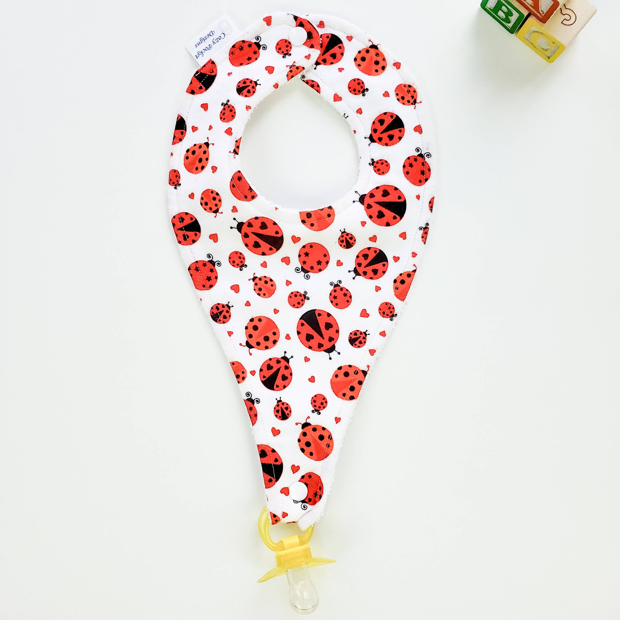 Pacifier Bib - Large & Small Ladybugs