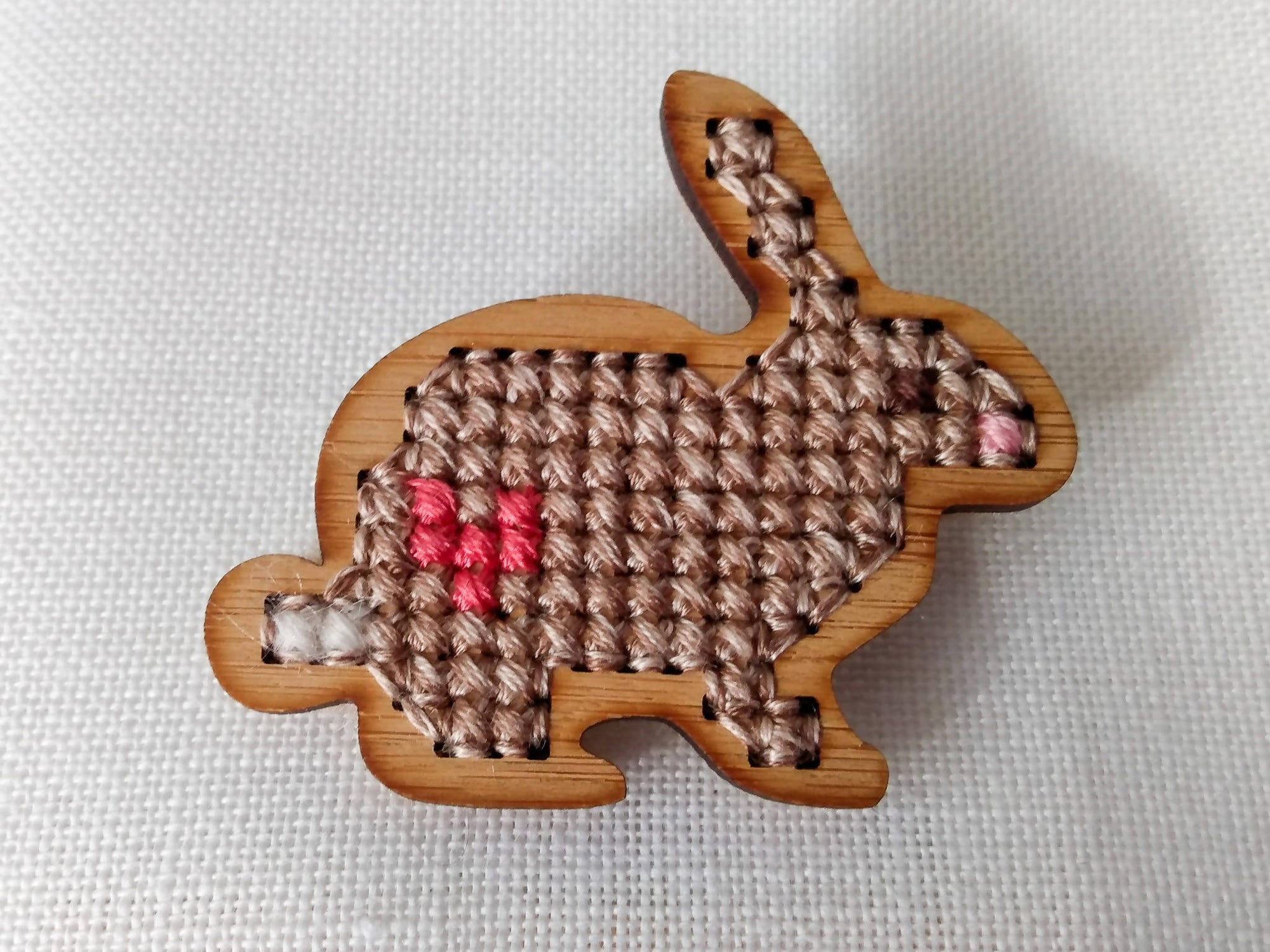 Bamboo Cross Stitched Wild at Heart Bunny Brooch