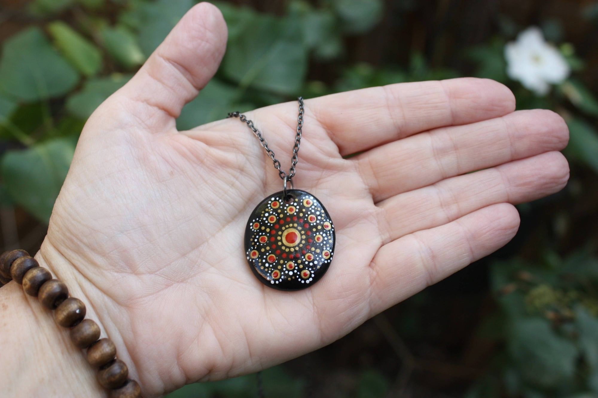 Hand painted mandala stone pendant necklace, flat river stone from Turkey, dot art, red, gold
