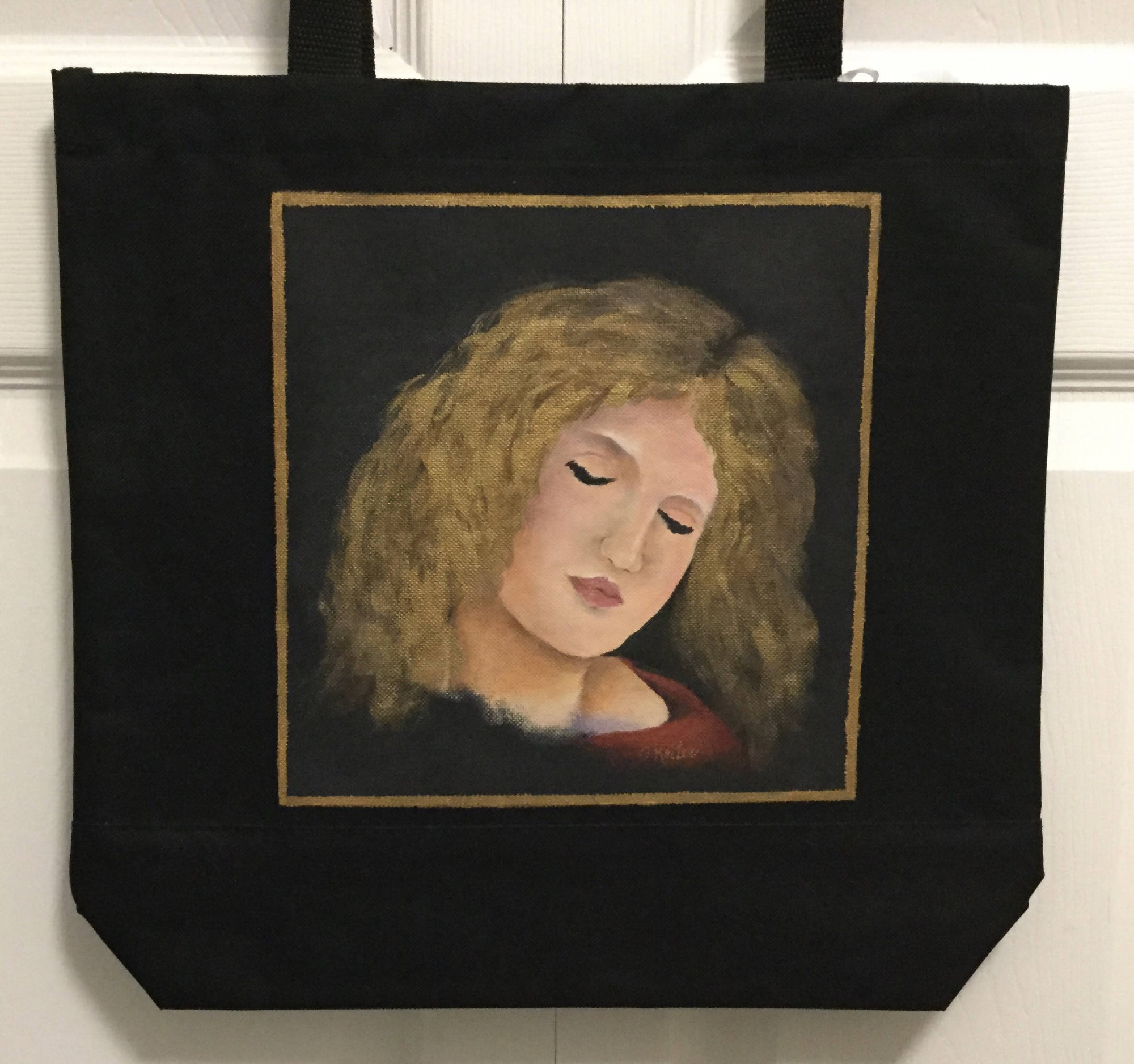 A Canvas Bag Hand Painted with the Face of a Renaissance Girl