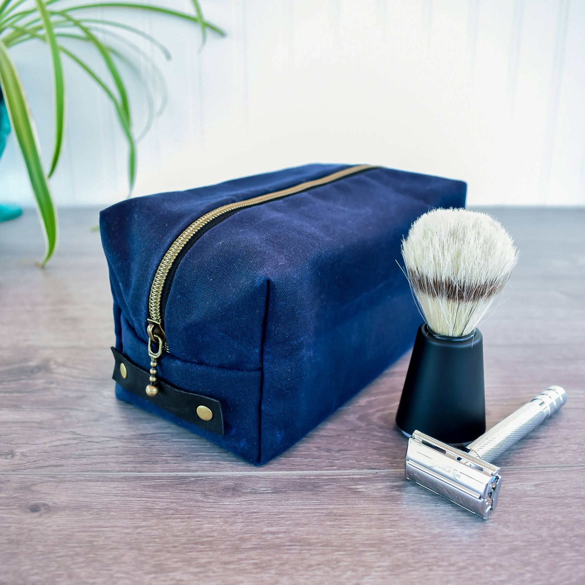 Navy Blue Waxed Canvas Dopp Kit Toiletry Bag