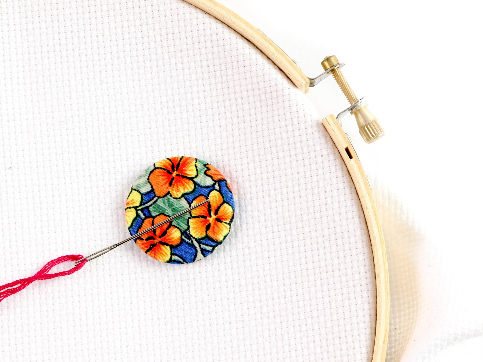 Needle minder: Tropical Hibiscus Design - Fabric Needlekeepers with Strong Ceramic Magnets for Embroidery, Cross Stitch, Crafting