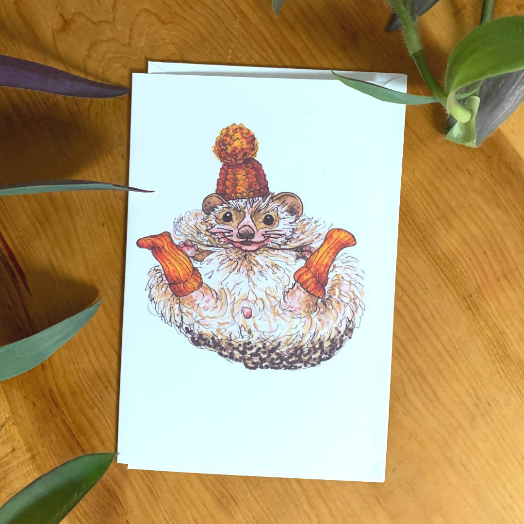 Chilly Toes (Hedgehog) Greeting Card