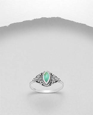 925 Silver Ring Decorated with Reconstructed Turquoise Size 9