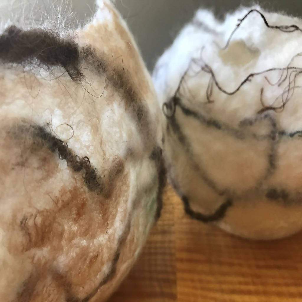 "Felted vessel - 6"" diameter X 4"" height"