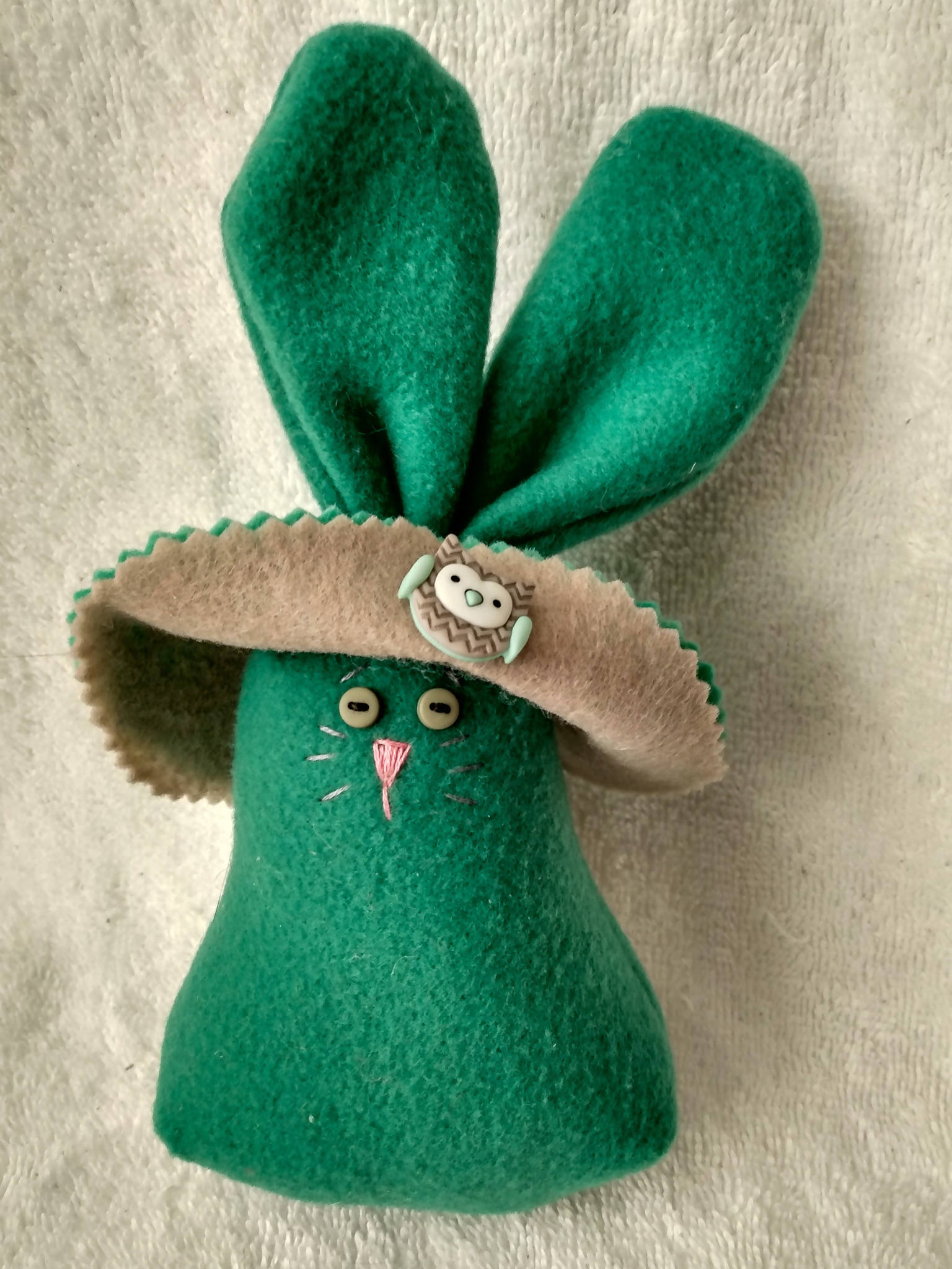 Teal Bunny with Grey and Aqua Bonnet