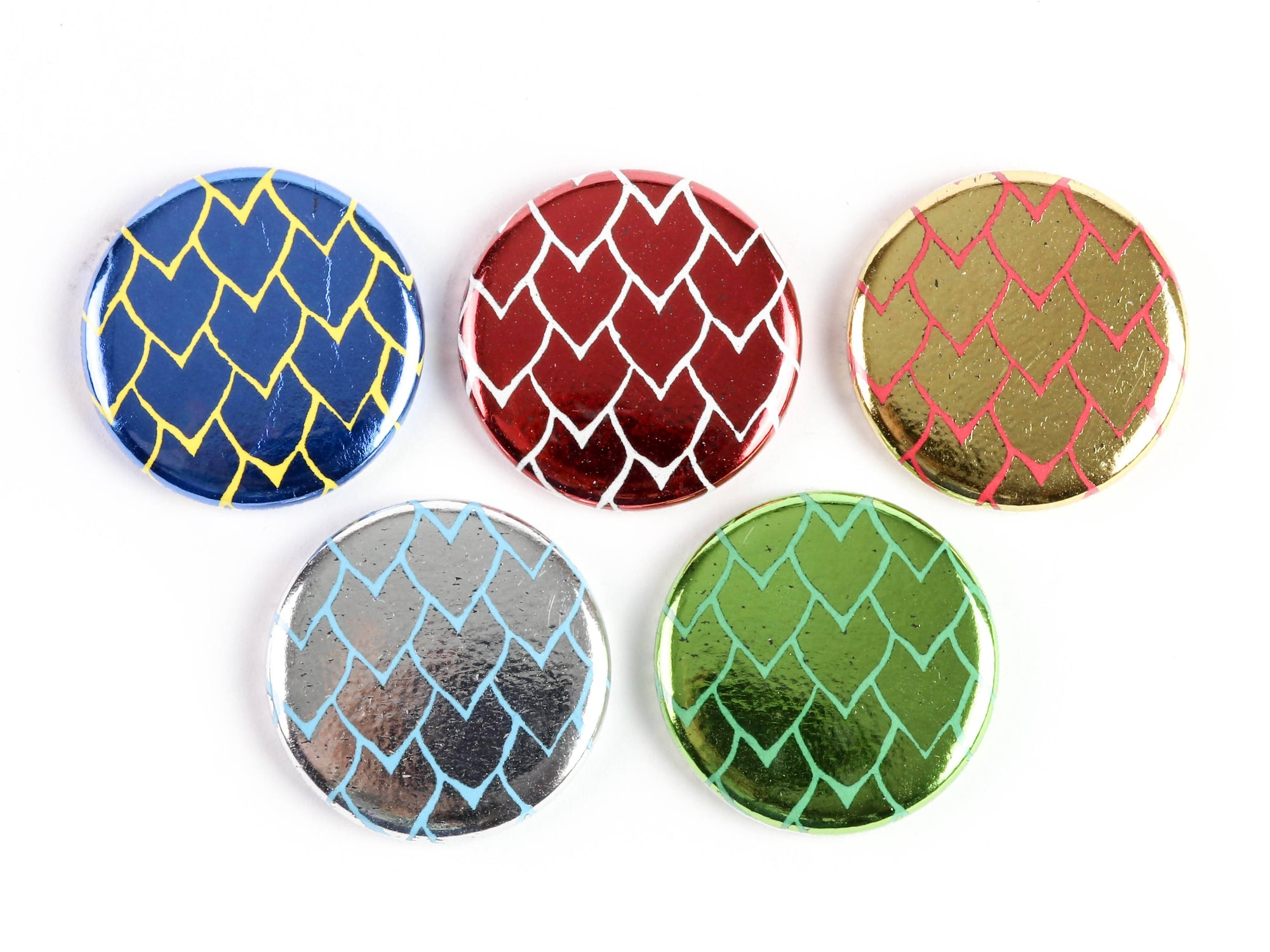 Shiny Dragon Scales! - Strong Ceramic Magnets Or Pinback Buttons for Dragon lovers! Choose your colors!