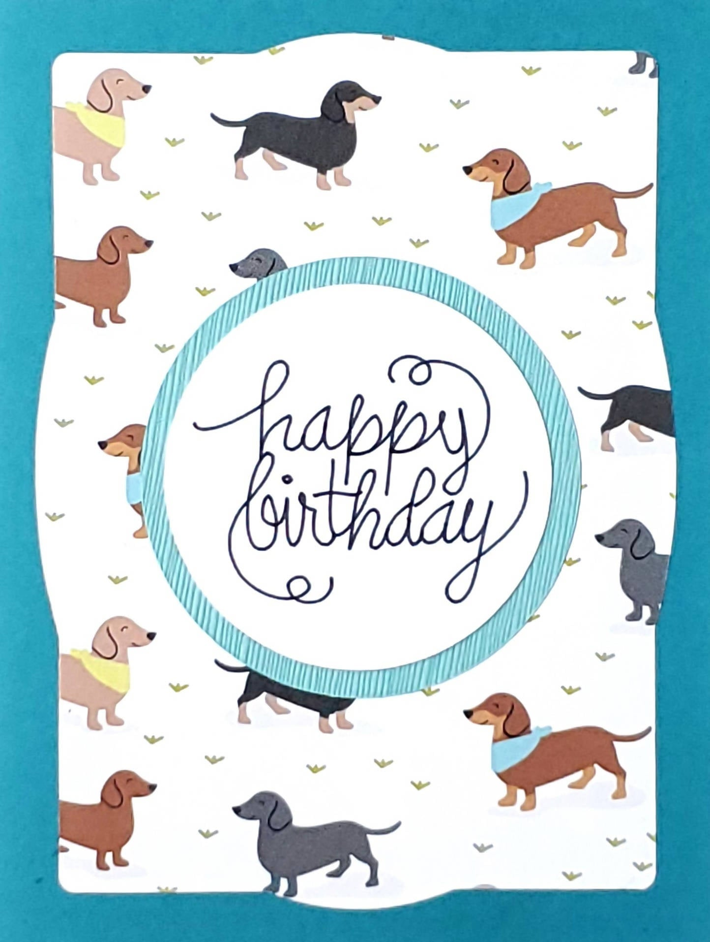 Birthday Card (Party Dachshunds in Blue)
