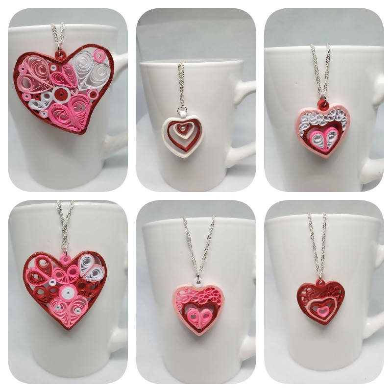 """FREE SHIPPING"" Quilled Heart Necklace (sterling silver)"