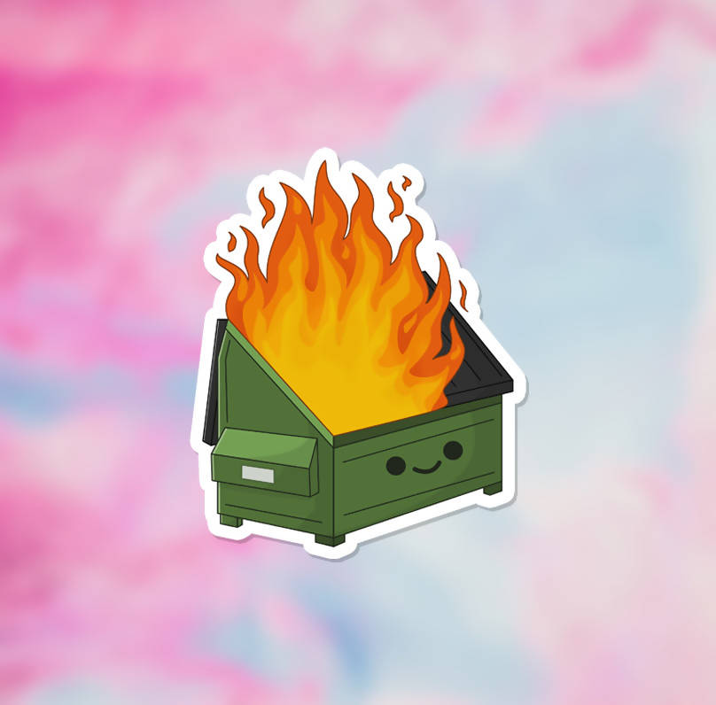 "Dumpster Fire Vinyl Sticker (3"") - glossy finish"