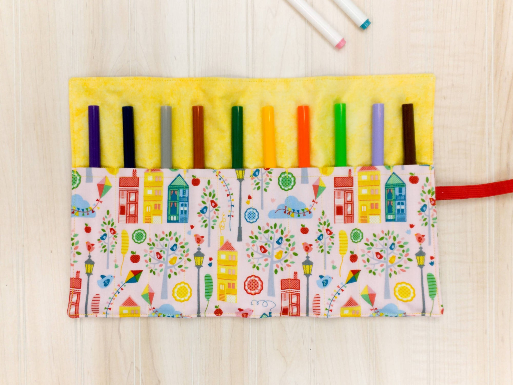 Marker Roll Up - Pencil Crayon Pouch - Pink and Yellow Houses - Personalised