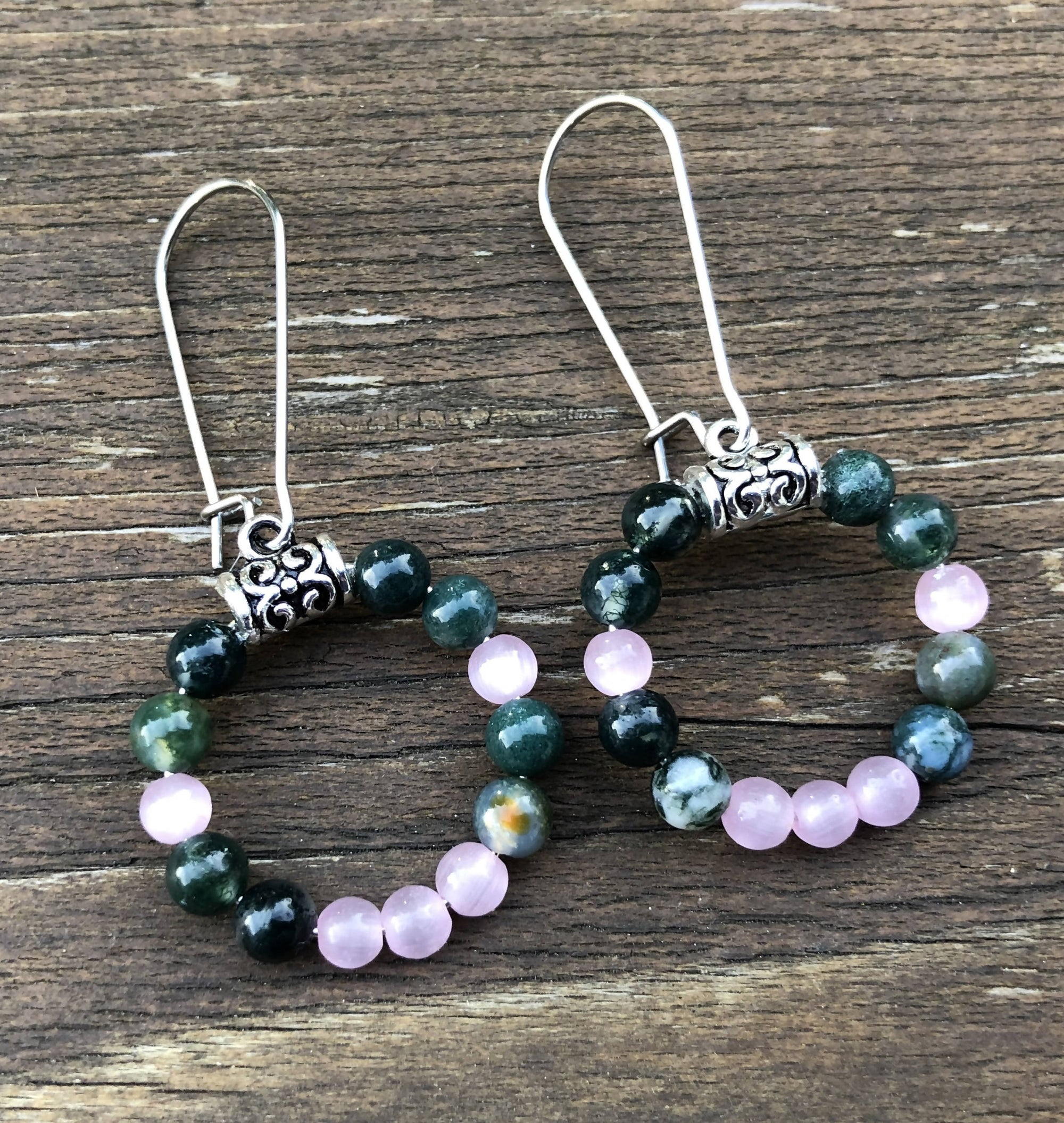 Moss Agate and Pink Cat's Eye Earrings