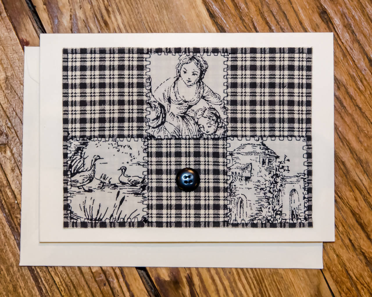 Toile and Plaid Greeting Card - Handmade - Fabric on Paper / Blank Inside for any occasion/Mother's Day