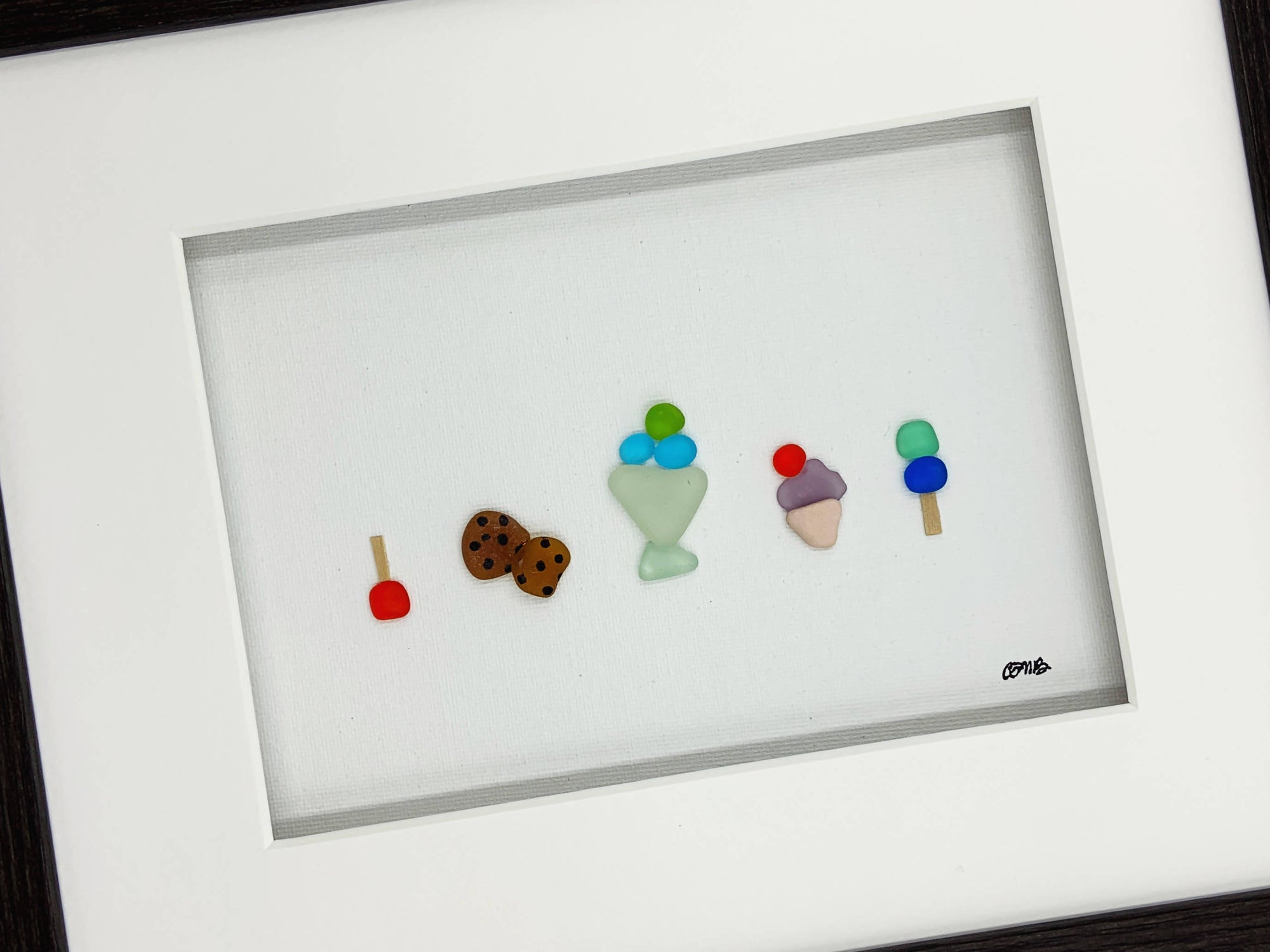 Sea Glass Art, 10 by 8, Desserts