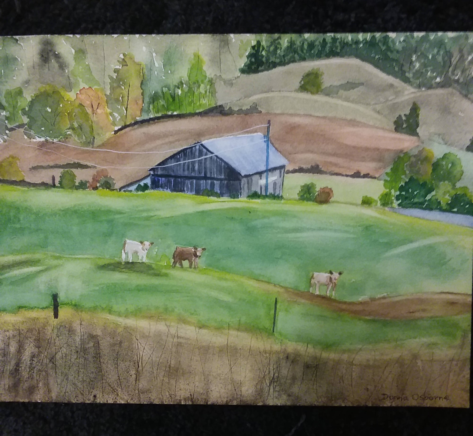 On The Farm watercolor painting
