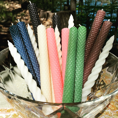 Pure Canadian Beeswax Candles- Rolled Beeswax Tapers - Set of 2 Pairs