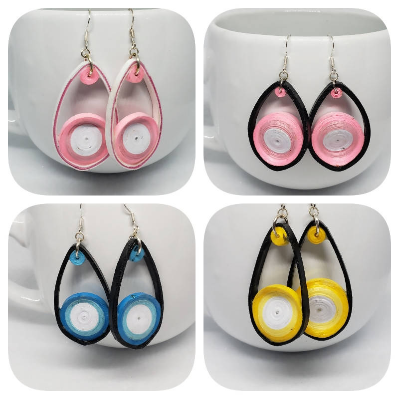 """FREE SHIPPING"" Teardrop Quilled Earrings (sterling silver)"