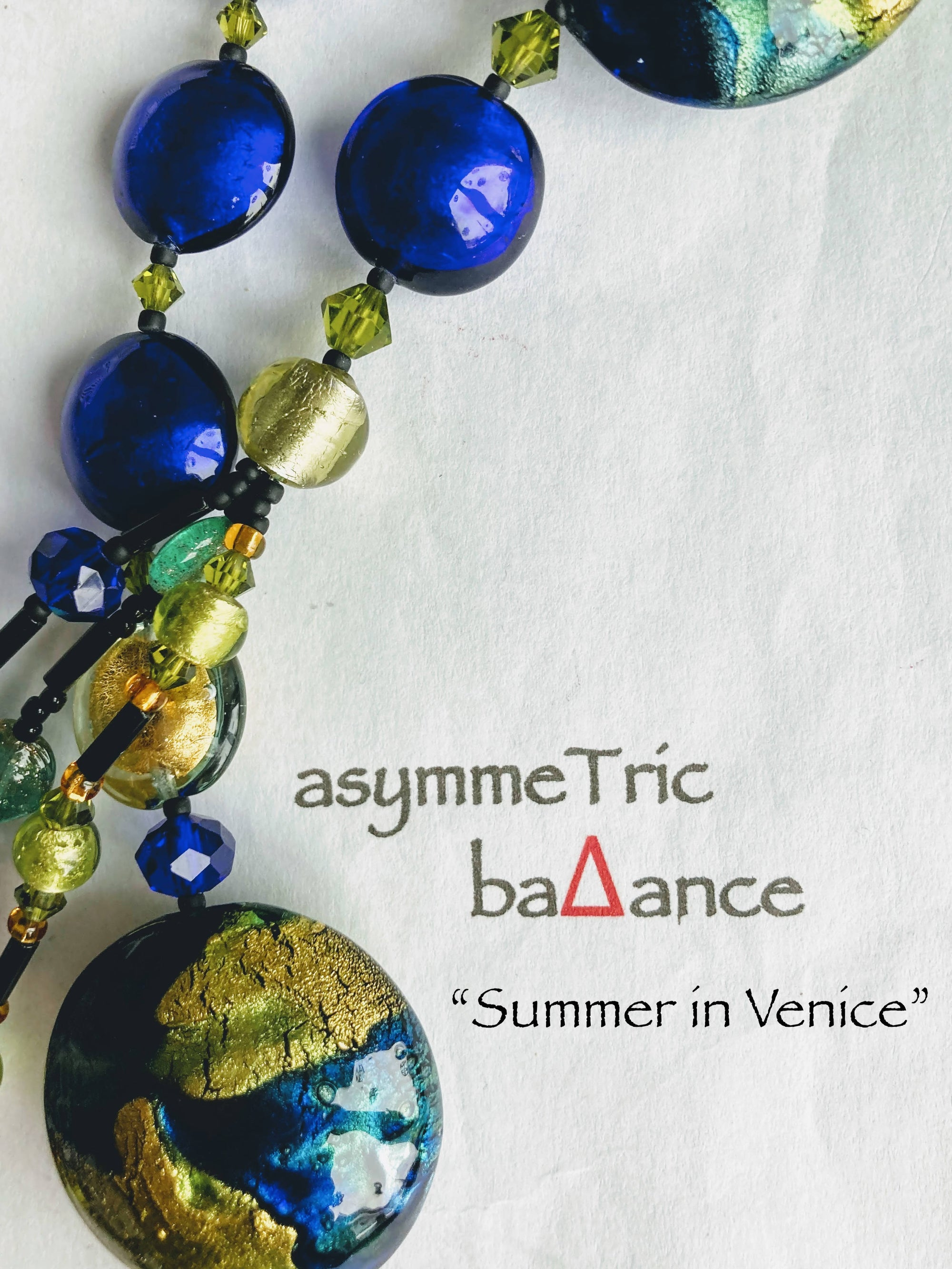 Summer in Venice - a stunning Murano glass asymmetrical statement which combines classic elegance with contemporary style