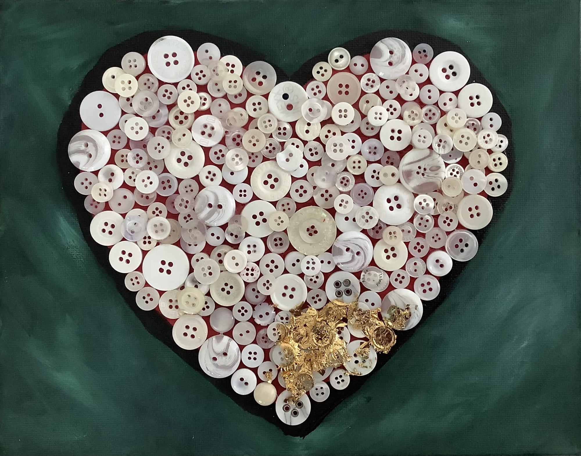 Series 3 - Valentines Day Heart Made From a Variety of Buttons. Beautiful on a Side Table