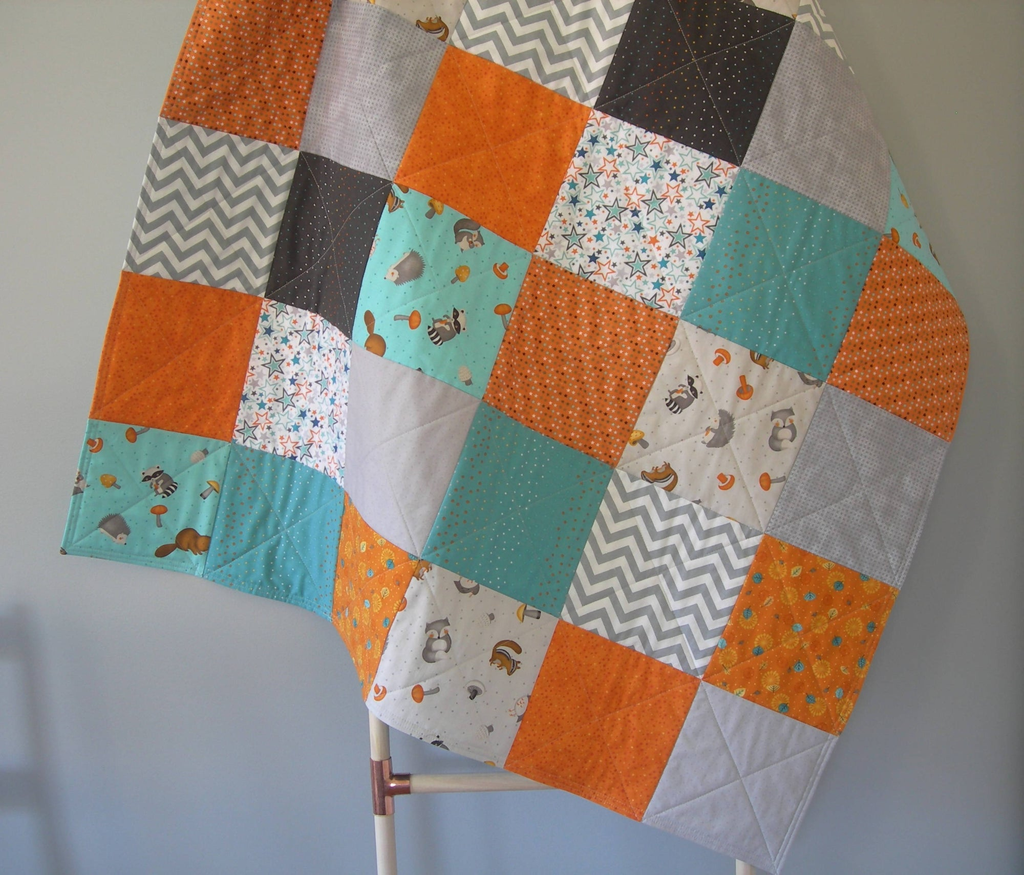 Woodland Patchwork Baby Quilt - Grey, Turquoise, Orange - 48 x 41 inches