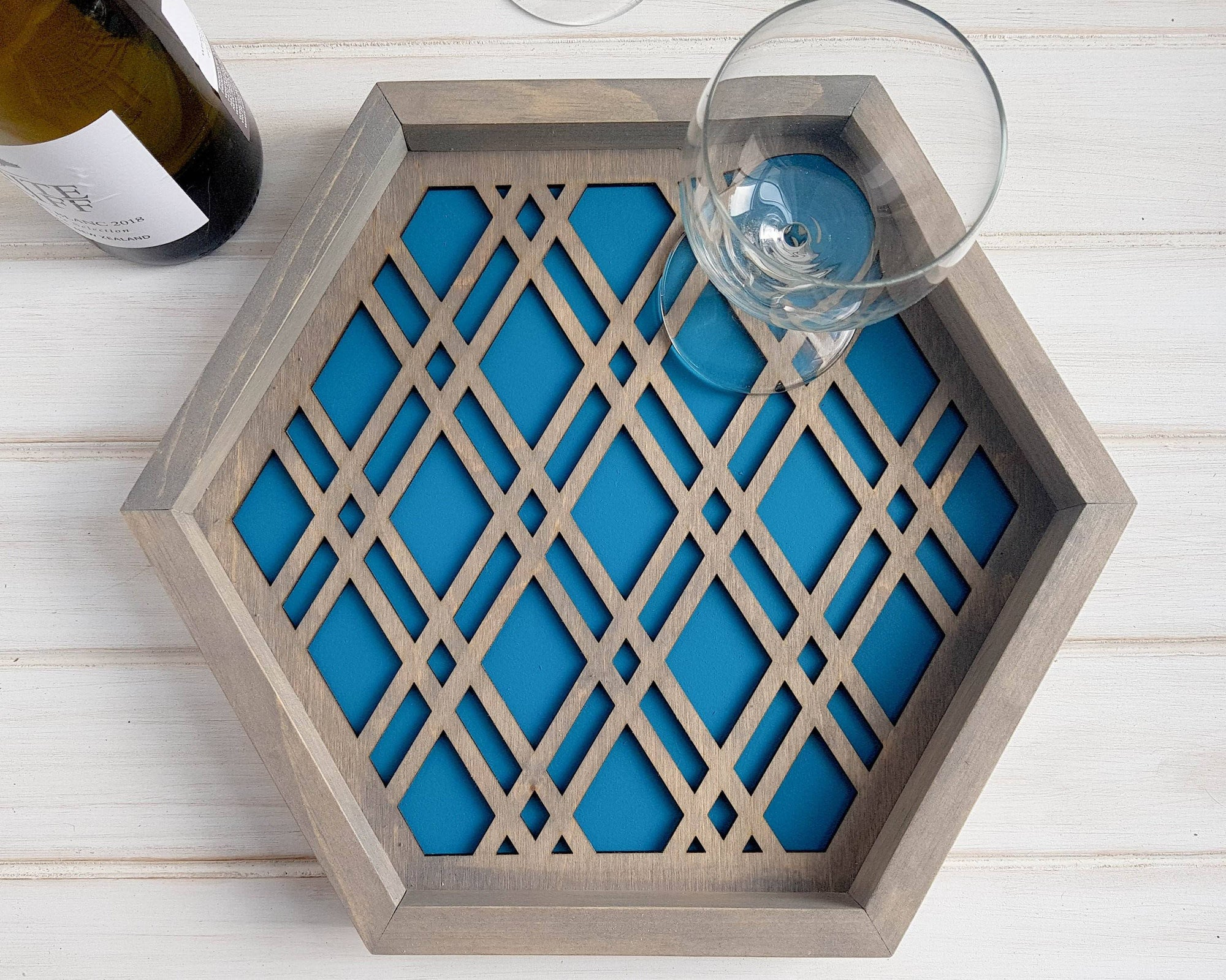 Hexagon Serving Tray Teal