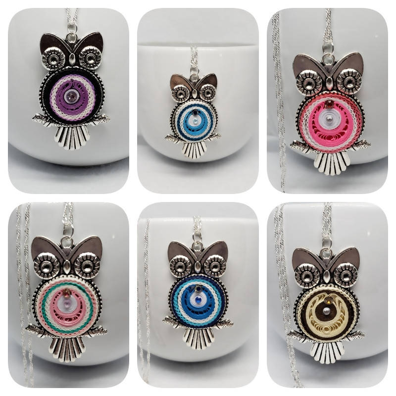 """FREE SHIPPING"" Large Quilled Owl Necklaces (Sterling Silver)"