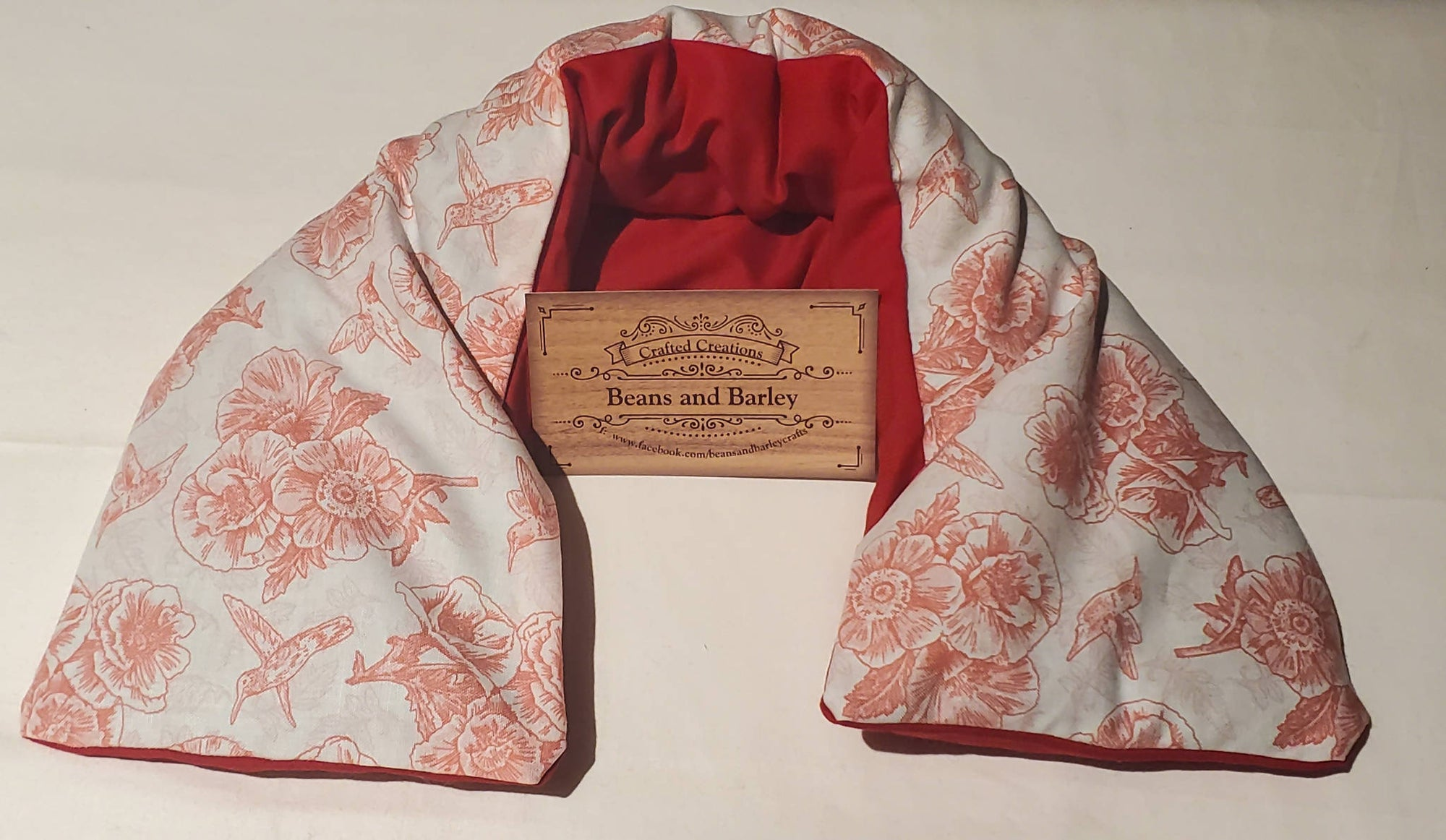 Barley Bag Neck Bag - Red Poppy and Humming bird *pick up only *