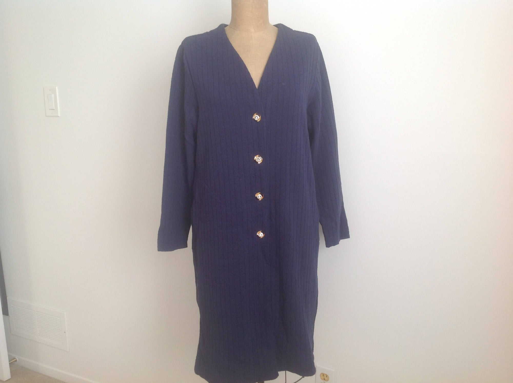 Cable knit design navy blue duster