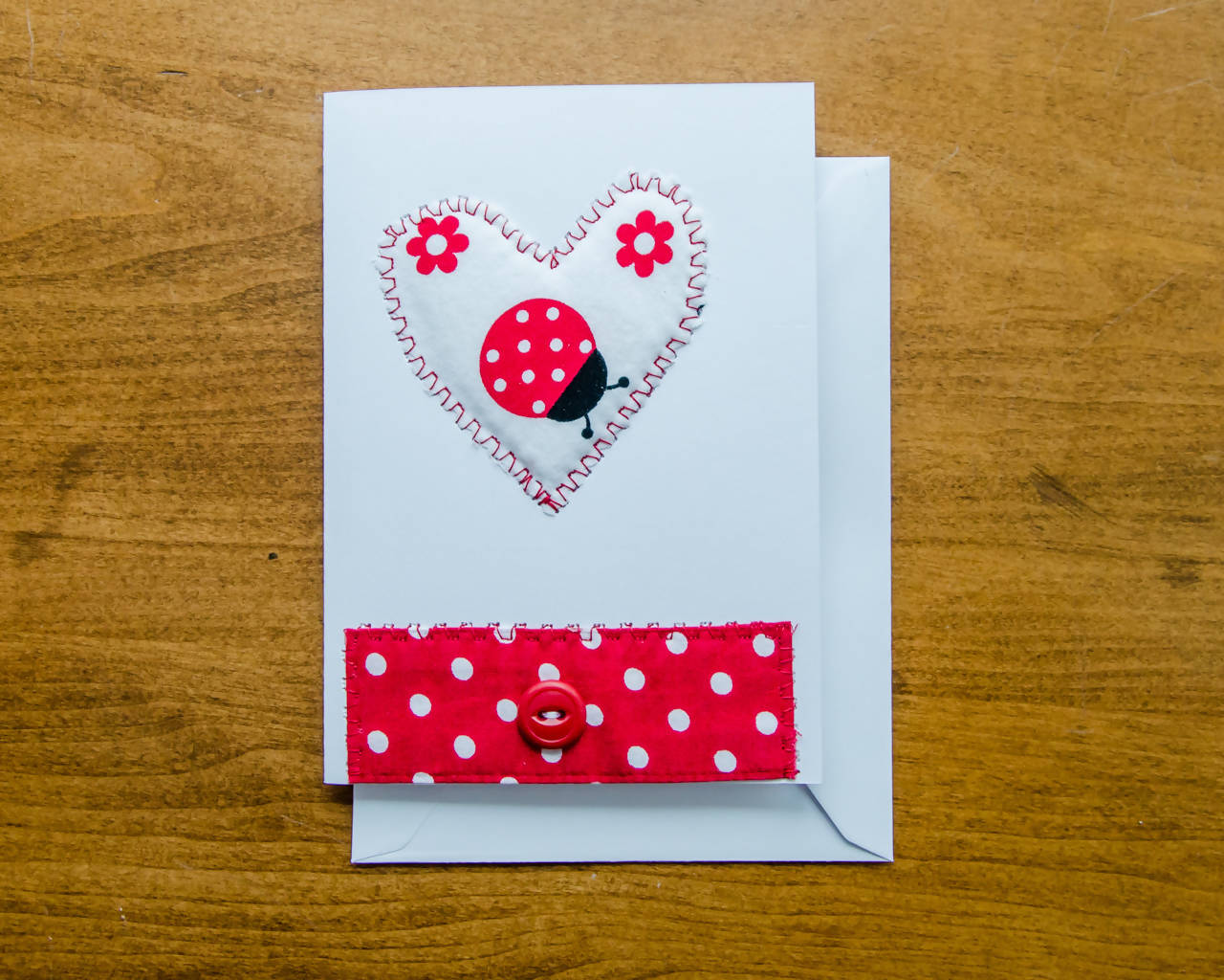 Hearts and Ladybugs Greeting Cards - Handmade - Fabric on paper / Blank Inside for any occasion. Package of 2