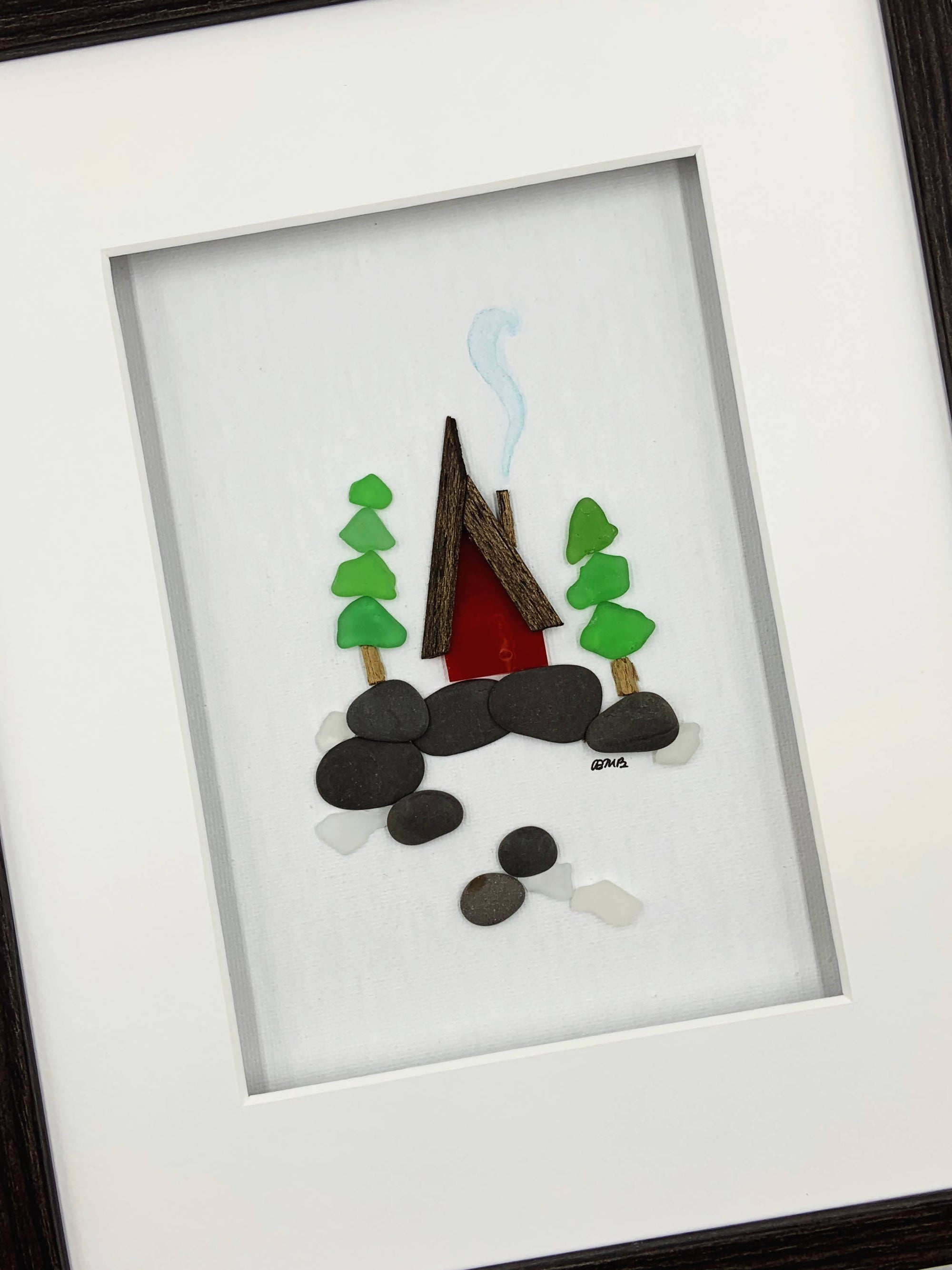 Pebble art / Sea glass art, 8 by 10, Chalet