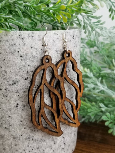 Wooden leaf earrings in Walnut