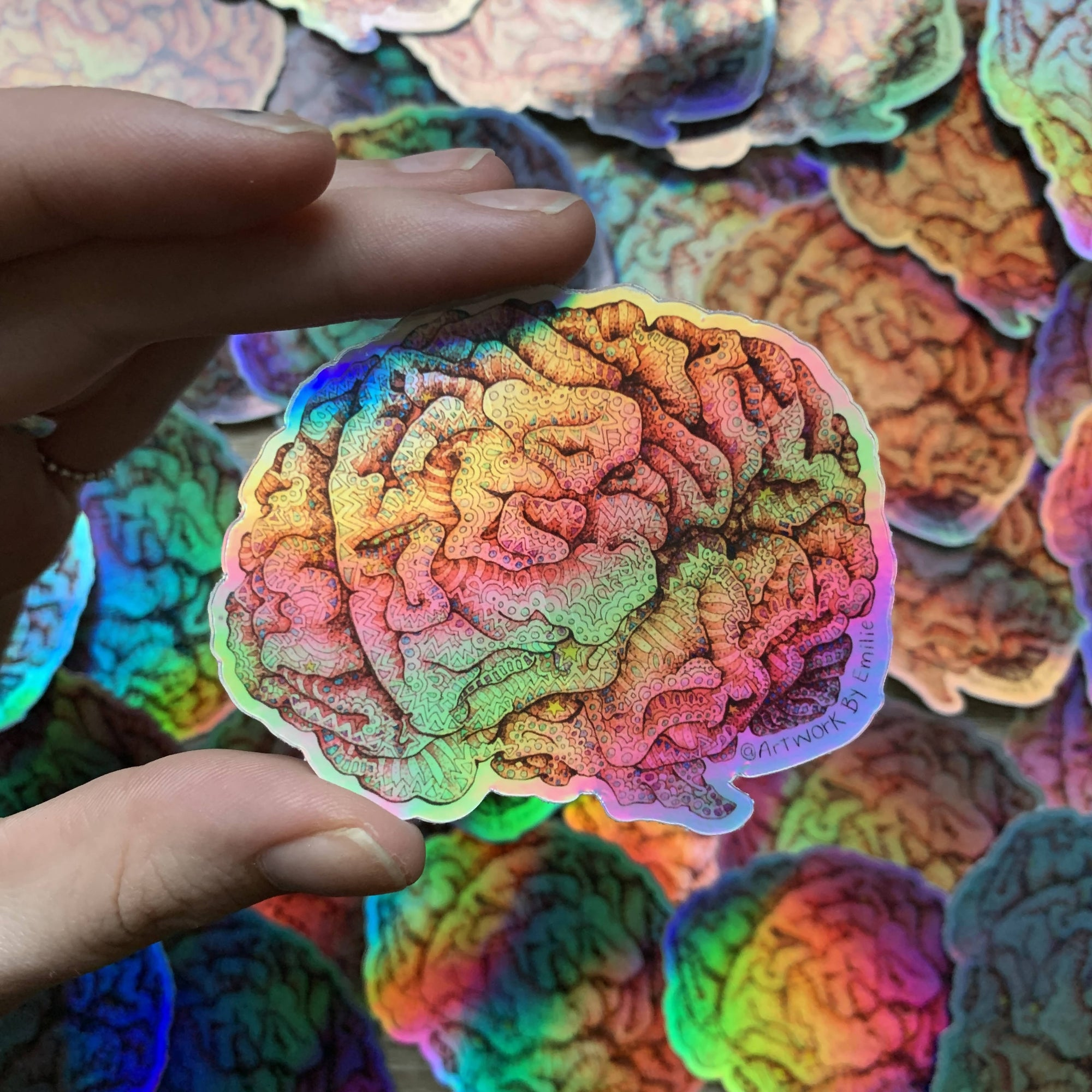 Holographic Brain Sticker - Weather-Proof & Dishwasher Safe Decal