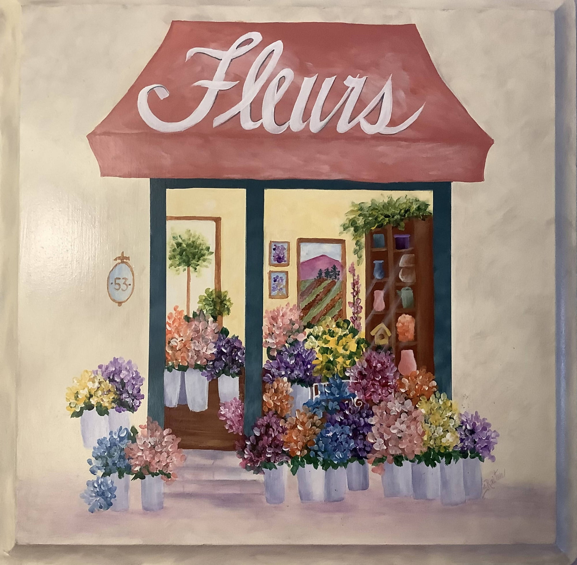 A Beautiful Painting of a Florist Shop on rue St.- Louis en I'll, Paris.