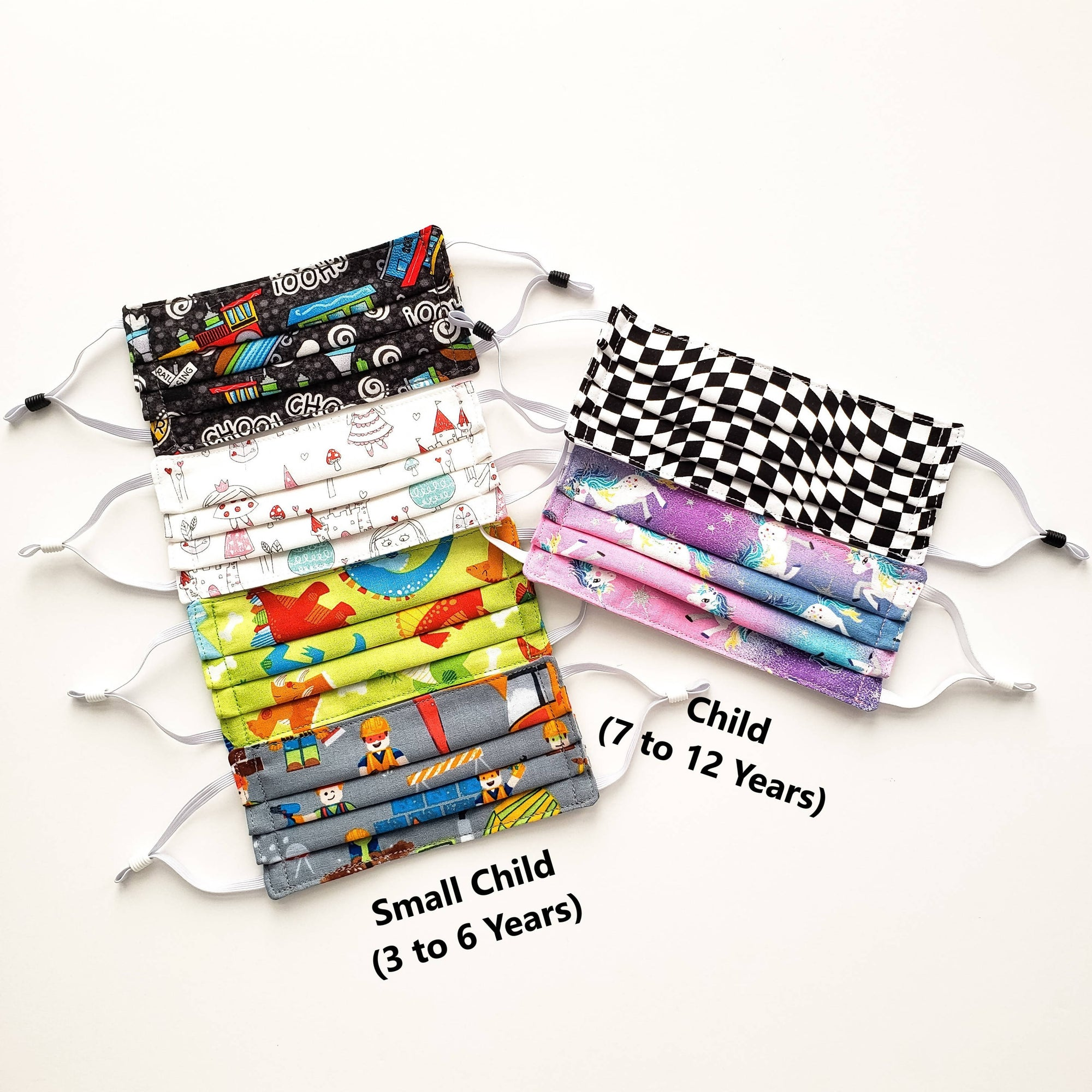 Kids Patterned Face Mask Rectangular Pleated (2 sizes, several fabric choices) - Free Shipping.