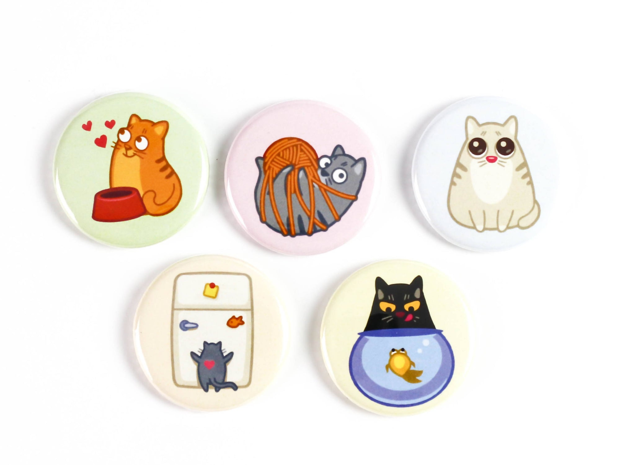 Cartoon Cat Antics Buttons or Magnets