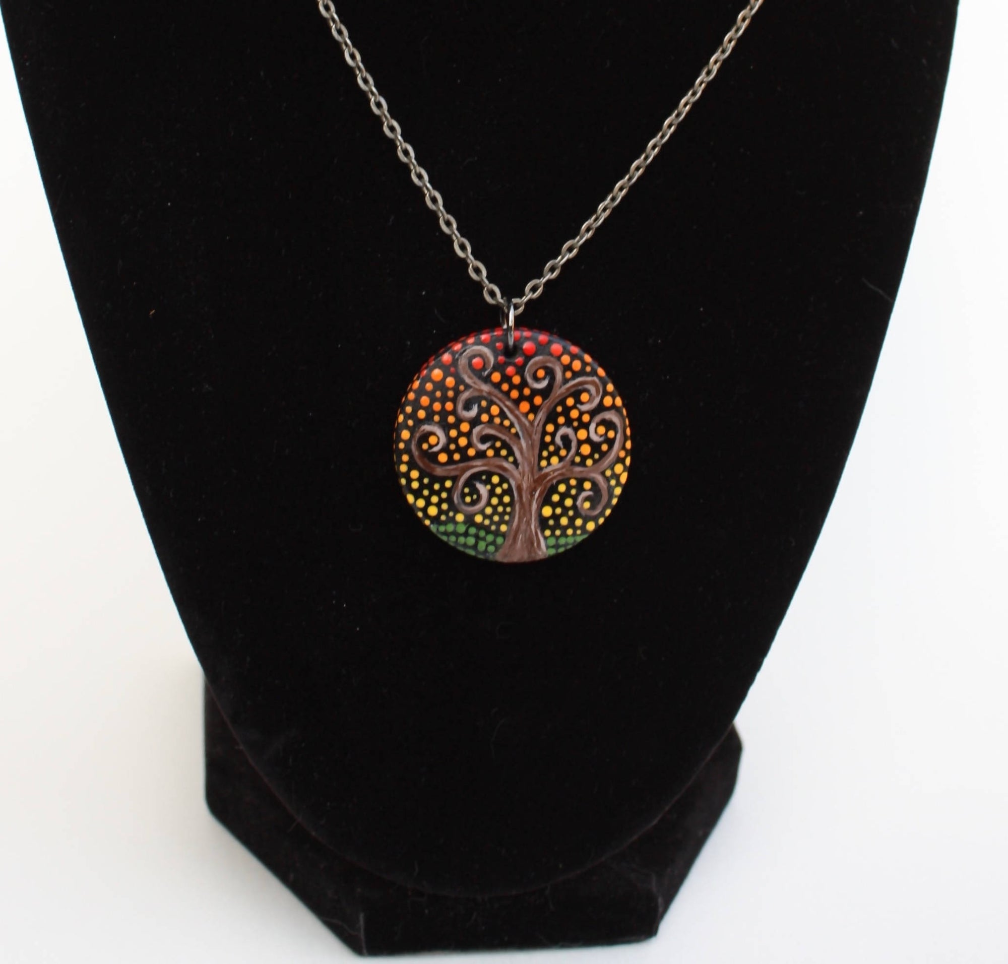 Hand painted wood pendant necklace, tree of life, dot art
