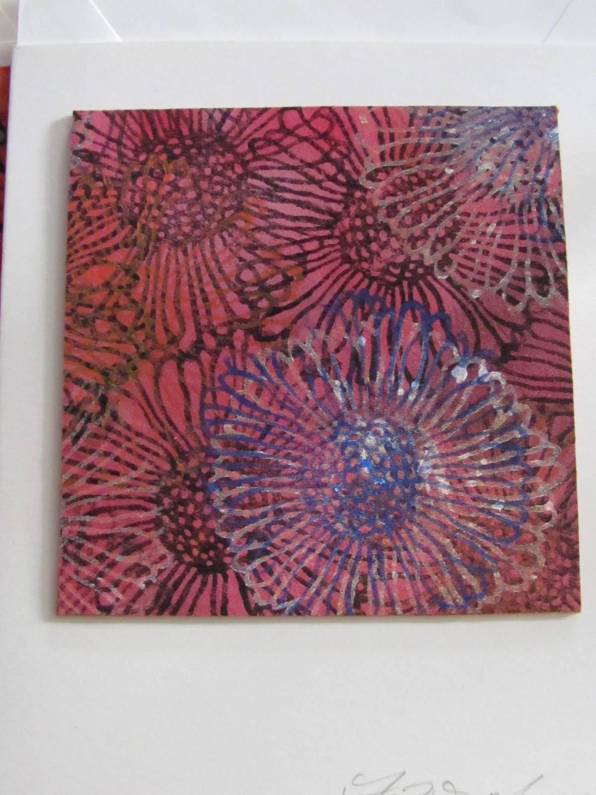 """Art-to-send silk coaster card"""