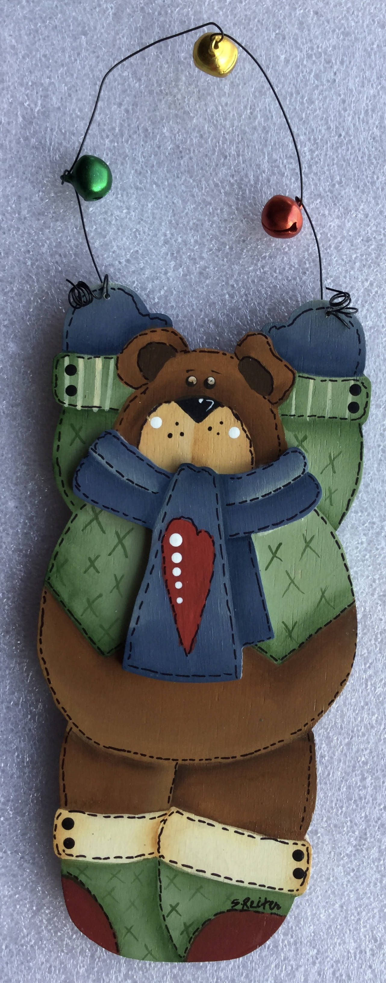 Wooden Ornament Cut out and Hand Painted as a Christmas Bear