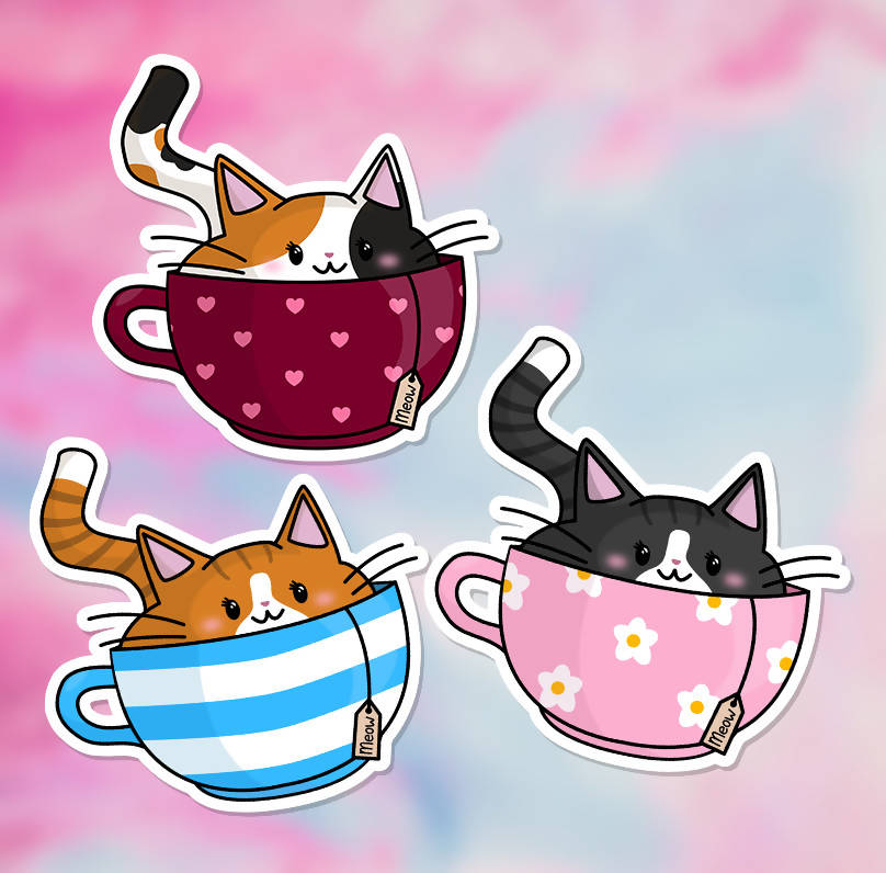 "Kit-Tea Cat Vinyl Sticker - 3 Colours (3"") - glossy finish"
