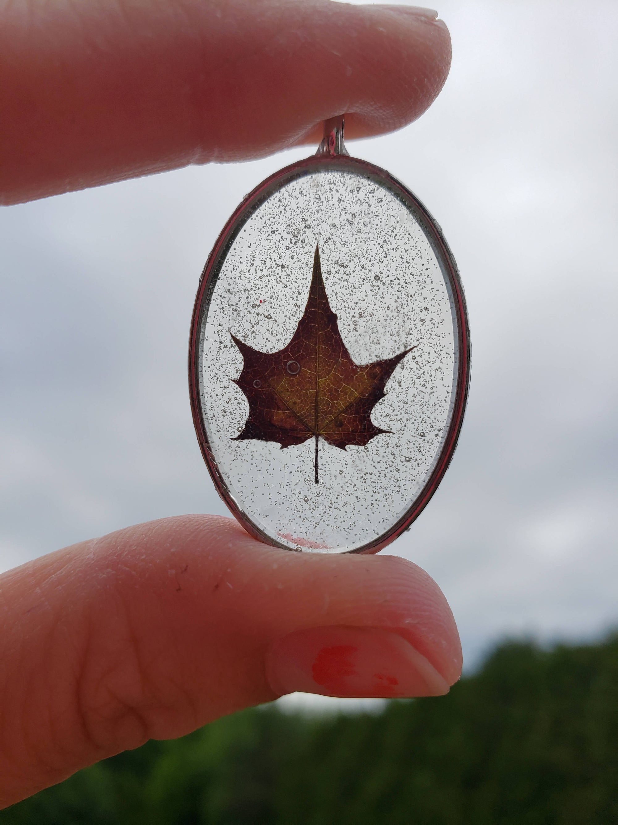 Red maple leaf in a silver plated bezel