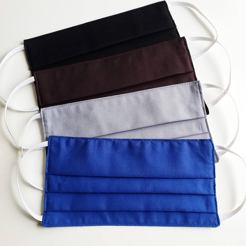 Solid Colour Fabric Face Mask - Rectangular Pleated with Pocket - Free Shipping.