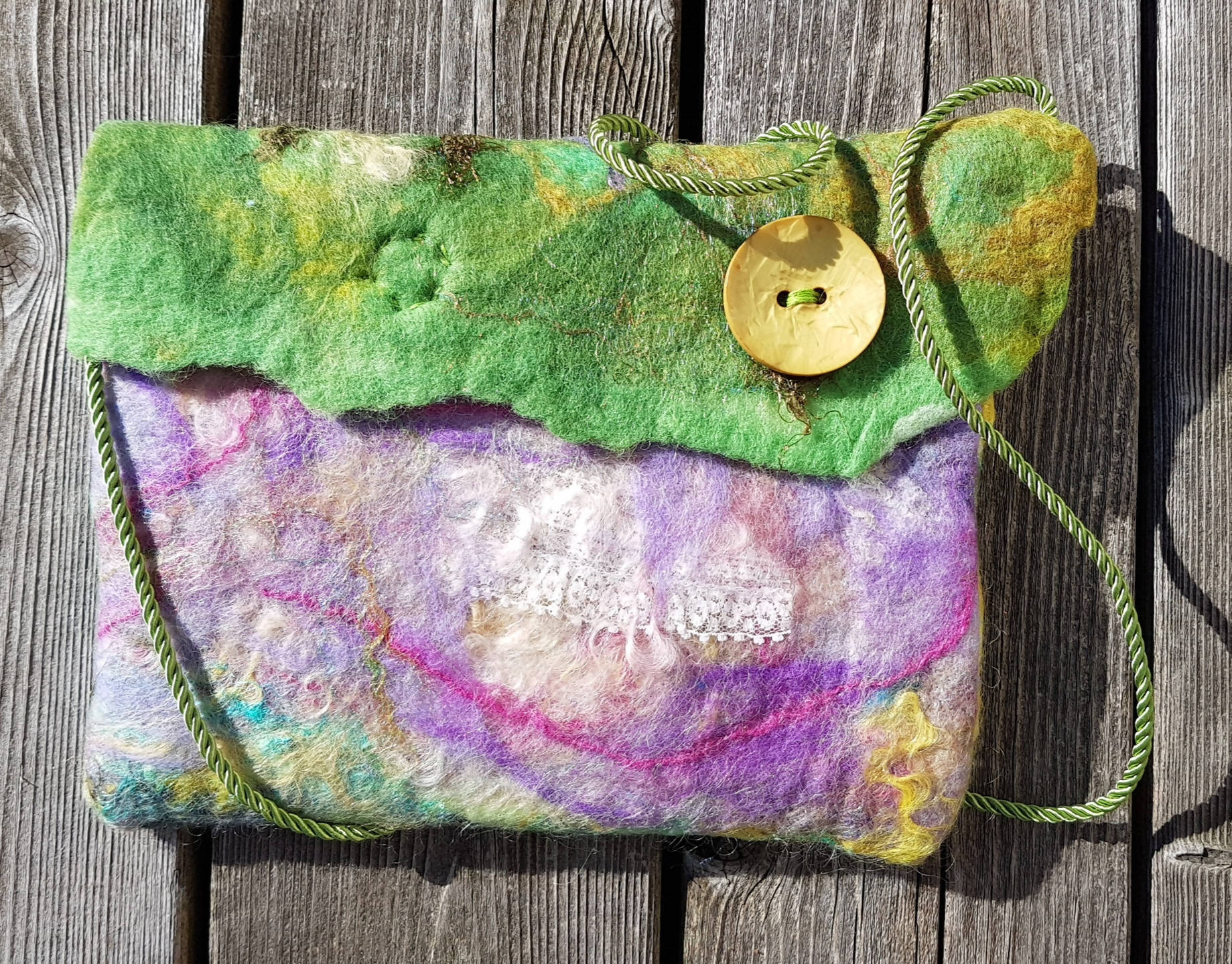 A mixed felt and textile bag