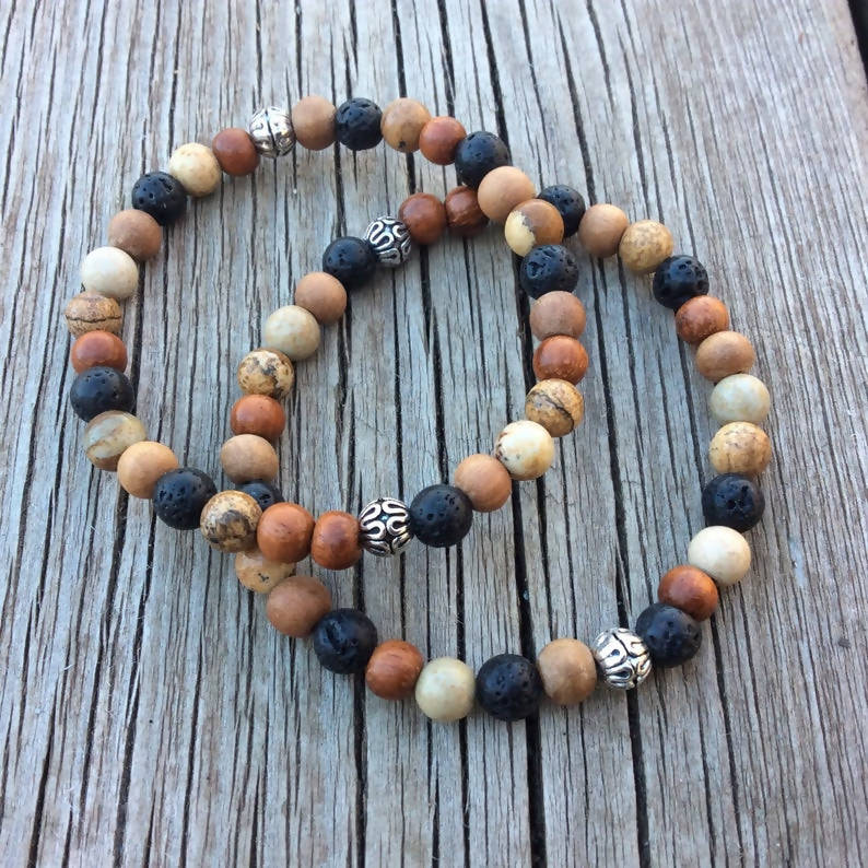 Sandalwood, Jasper and Lava Stone Beaded Bracelet