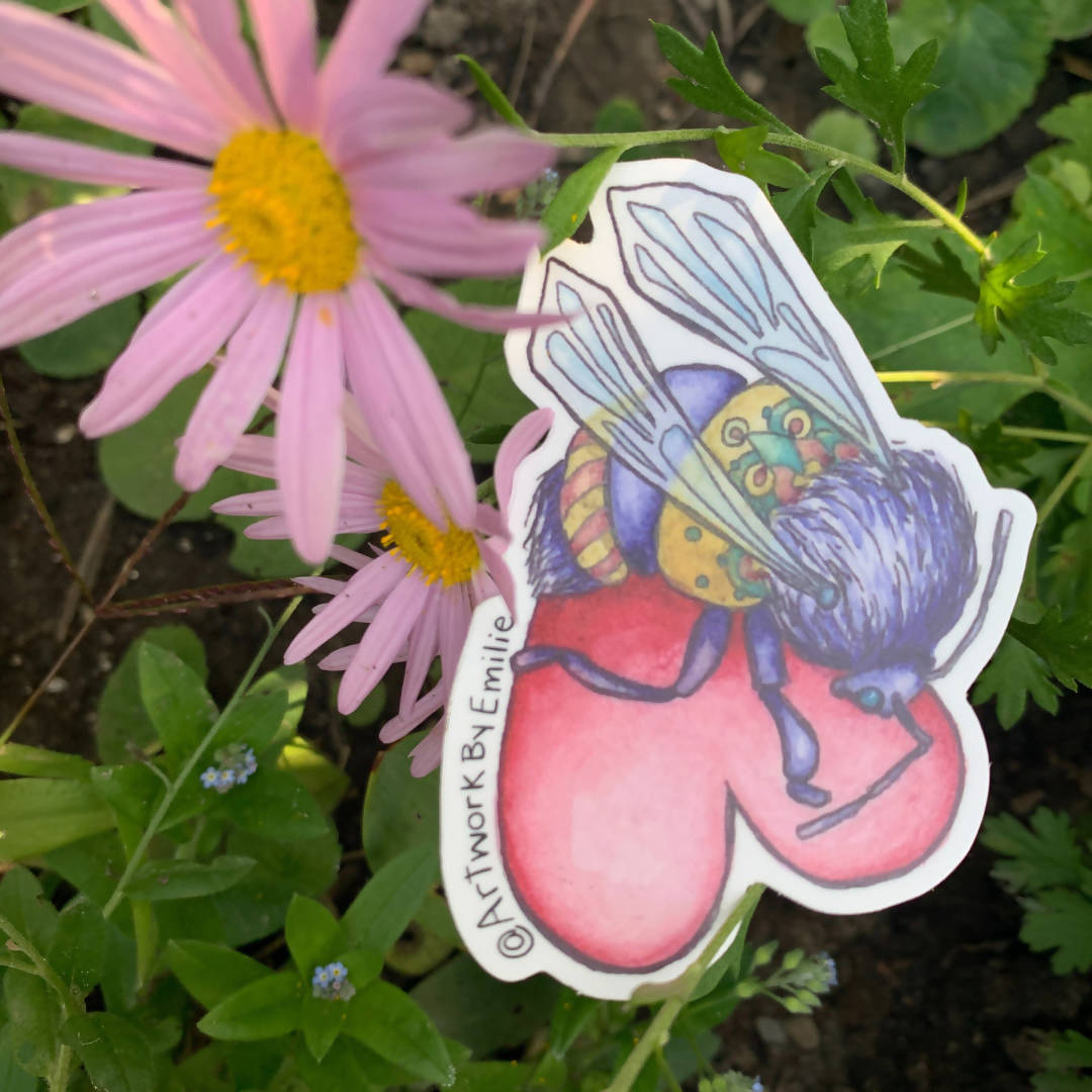 Honey Bee Love Bug Sticker - Weather-Proof & Dishwasher Safe Decal