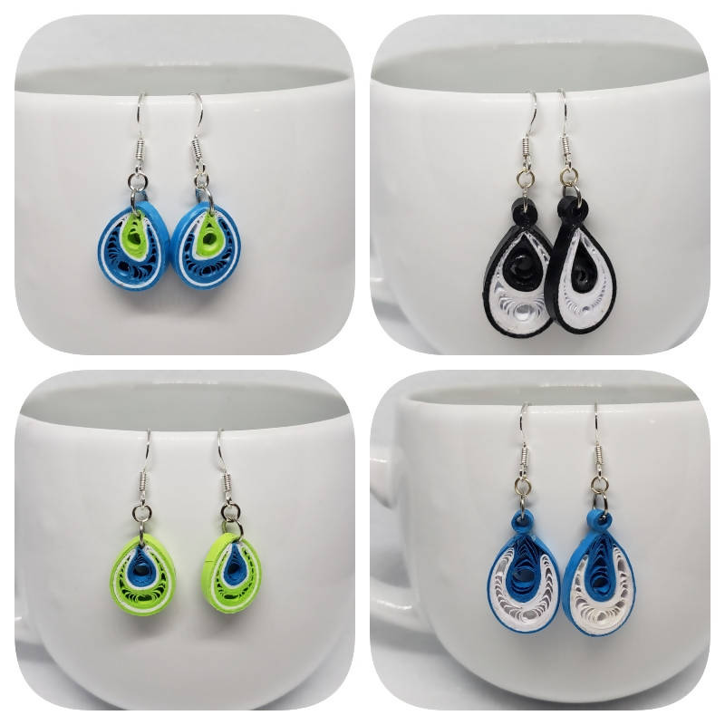 """FREE SHIPPING"" Quilled Teardrop Earrings (Sterling Silver)"