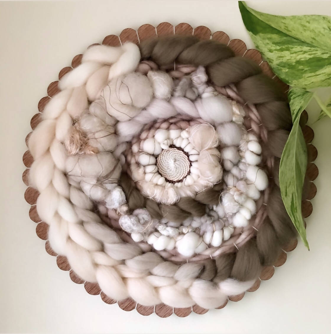 Barely Pink Round Woven Wall Hanging